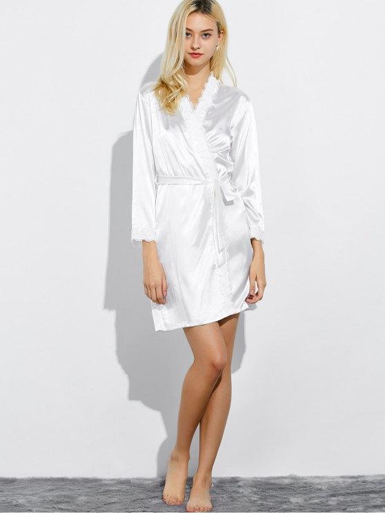 Lace Panel Sleep Wrap Robe - WHITE M Mobile