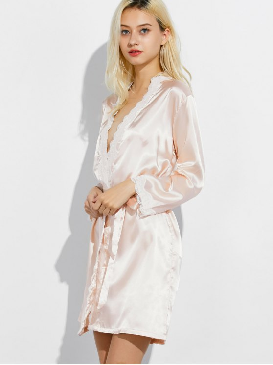 Lace Panel Sleep Wrap Robe - CHAMPAGNE XL Mobile