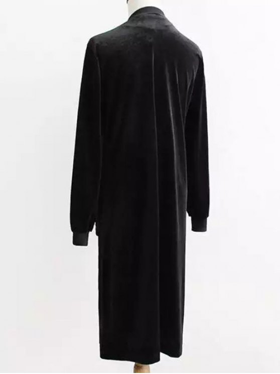 Pleuche Longline Coat - BLACK ONE SIZE Mobile