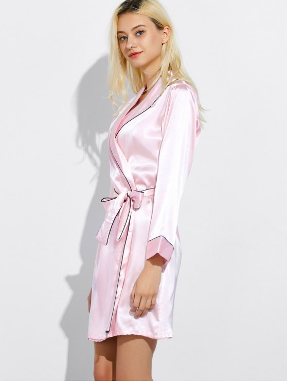 Bowknot Wrap Sleep Robe - LIGHT PINK M Mobile