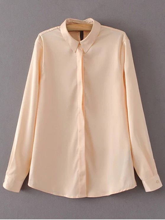 Satin Boyfriend Shirt - YELLOWISH PINK L Mobile