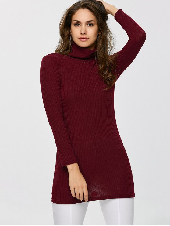 Fitted Turtleneck Jumper - BURGUNDY S Mobile