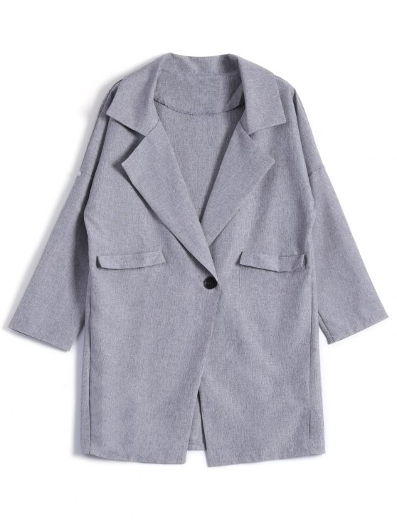 One Button Plus Size Blazer - GRAY 3XL Mobile