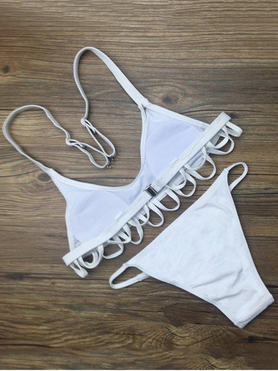 Padded Spaghetti Straps Bikini Set - WHITE S Mobile