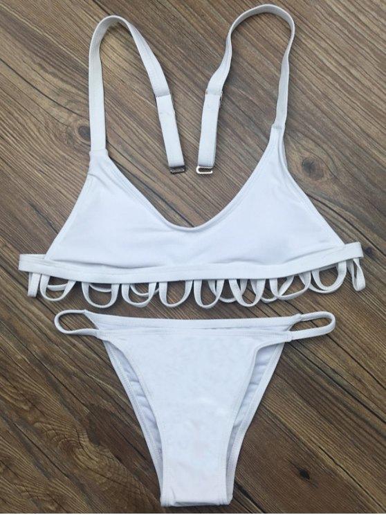 Padded Spaghetti Straps Bikini Set - WHITE M Mobile