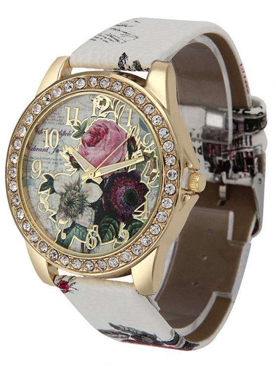 Rhinestone Faux Leather Rose Quartz Watch - WHITE  Mobile