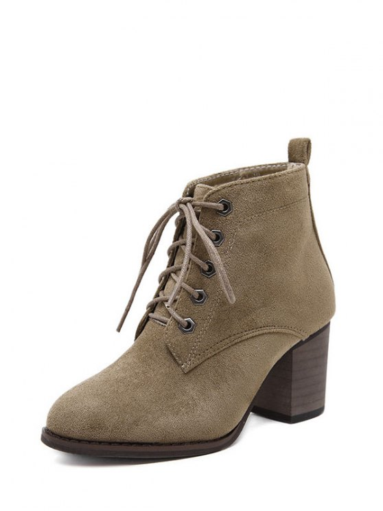 Block Heel Tie Up Suede Ankle Boots - DARK KHAKI 37 Mobile