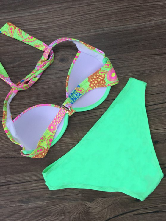 Patterned Halter Bikini Set - LAKE GREEN L Mobile