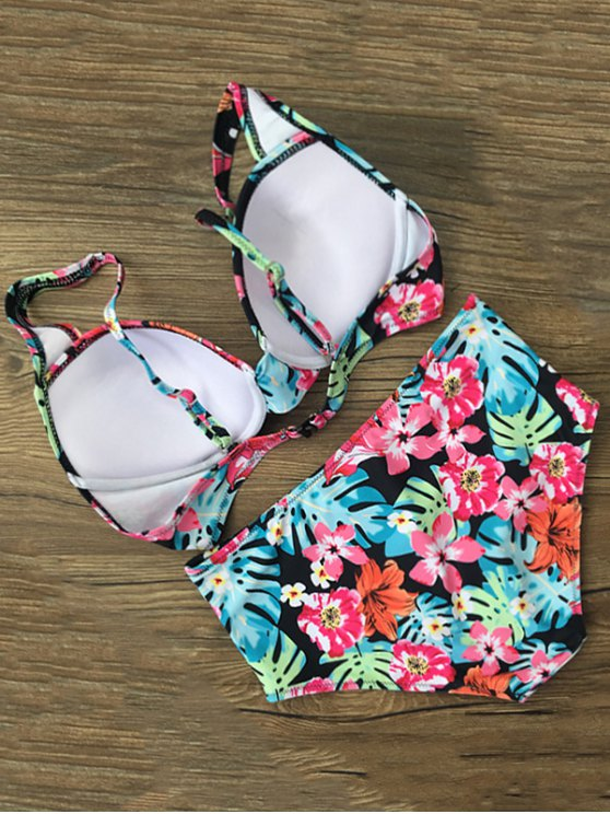 Floral High Waist Front Twist Bikini Set - FLORAL XL Mobile
