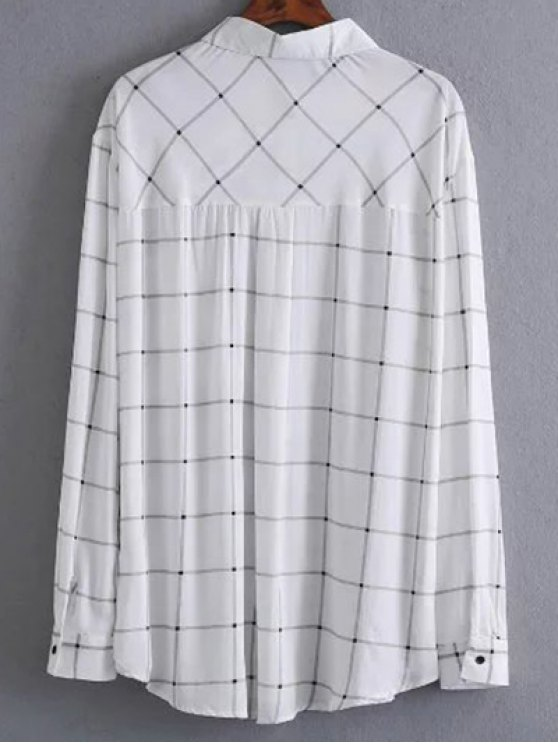 One Breast Pocket Plaid Shirt - WHITE L Mobile