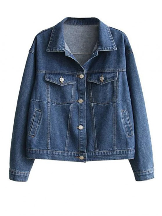 Boyfriend Denim Jacket With Pockets - DENIM BLUE L Mobile