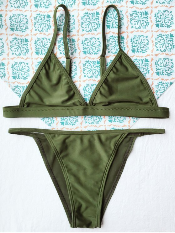 Tiny Unlined String Bikini Set - ARMY GREEN M Mobile