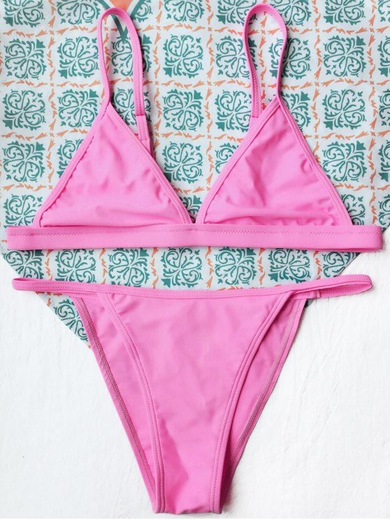 Tiny Unlined String Bikini Set - FLUORESCENT PINK S Mobile