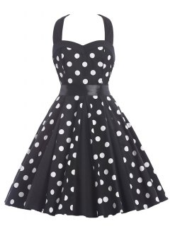 Halter Polka Dot Swing Knee Length Dress - Black S