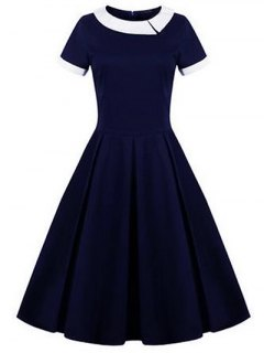Retro Panel Ball Dress - Purplish Blue S