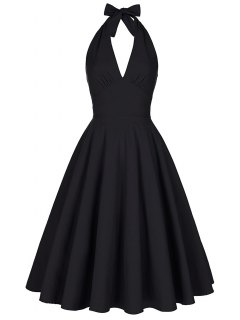 Backless Plunge Halter Vintage Swing Skater Party Dress - Black Xl