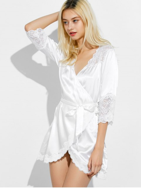sale Wrap Lace Panel Sleep Robe - WHITE L Mobile