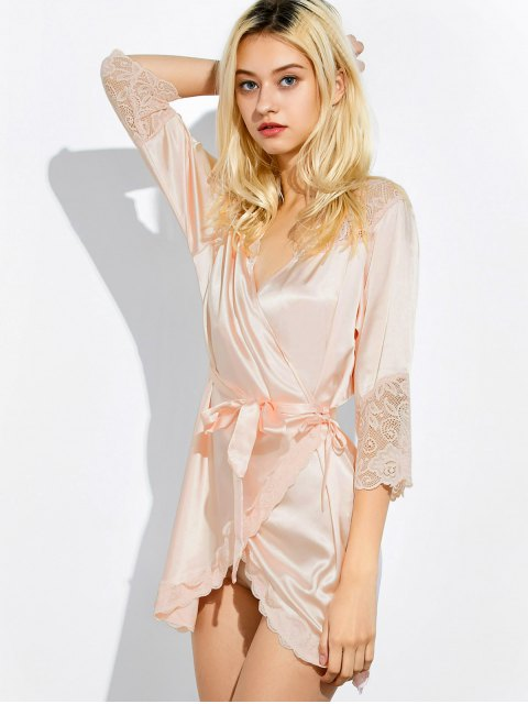 women Wrap Lace Panel Sleep Robe - SHALLOW PINK M Mobile