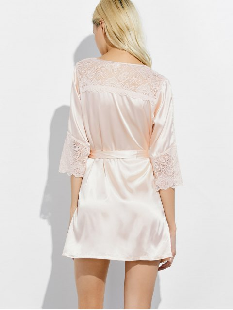 ladies Wrap Lace Panel Sleep Robe - CHAMPAGNE L Mobile