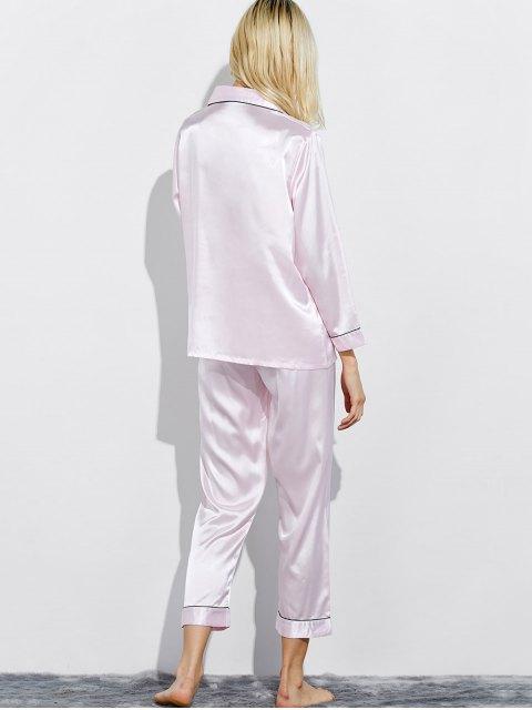 shop Fitting Silk Nightwear Pajamas - SHALLOW PINK XL Mobile