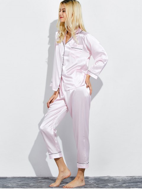 latest Fitting Silk Nightwear Pajamas - SHALLOW PINK M Mobile