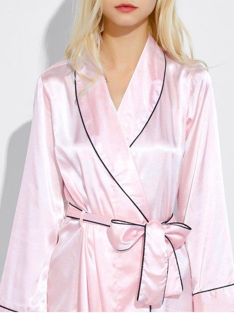 fancy Bowknot Wrap Sleep Robe - LIGHT PINK L Mobile
