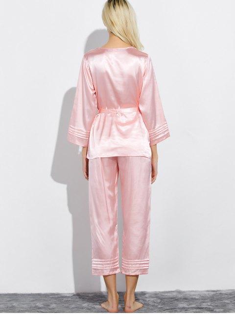 womens Lace Panel Bowknot Nightwear Pajamas - LIGHT PINK M Mobile