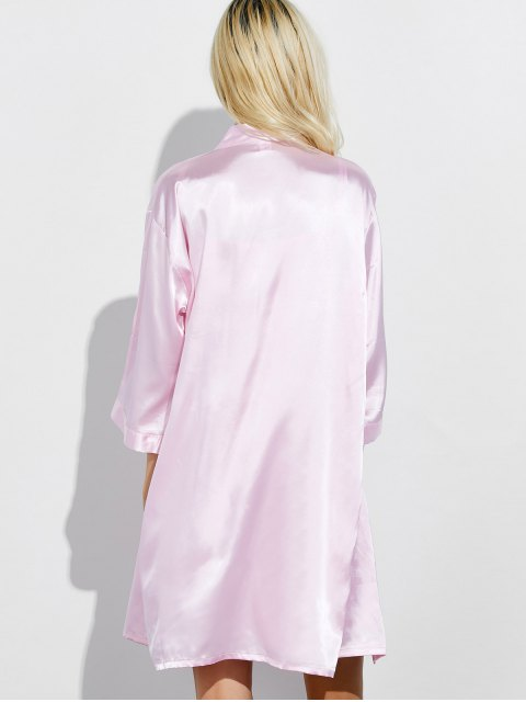 womens Embroidered Babydoll and Fitting Wrap Robe - LIGHT PINK L Mobile