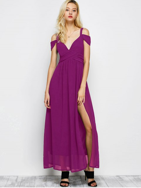 unique Cold Shoulder Slit Maxi Prom Dress - PURPLE XL Mobile