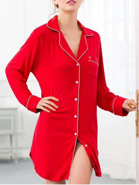buy Cotton Sleep Shirt Dress With Pocket - RED XS Mobile