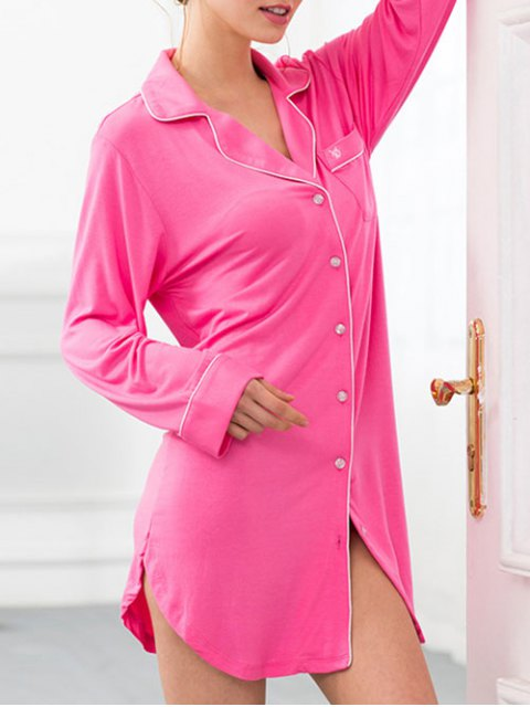 lady Cotton Sleep Shirt Dress With Pocket - ROSE RED S Mobile