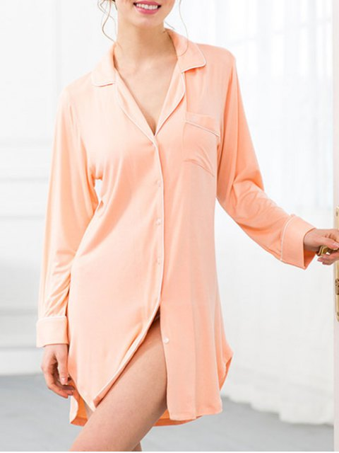 outfits Cotton Sleep Shirt Dress With Pocket - ORANGEPINK S Mobile