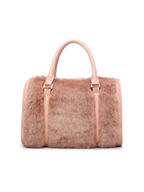 latest PU Leather Metal Faux Fur Tote Bag - PINKBEIGE  Mobile