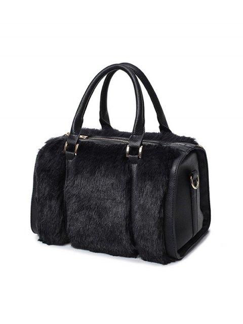 trendy PU Leather Metal Faux Fur Tote Bag - BLACK  Mobile