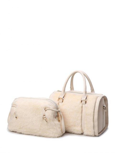 fashion PU Leather Metal Faux Fur Tote Bag - MILK WHITE  Mobile