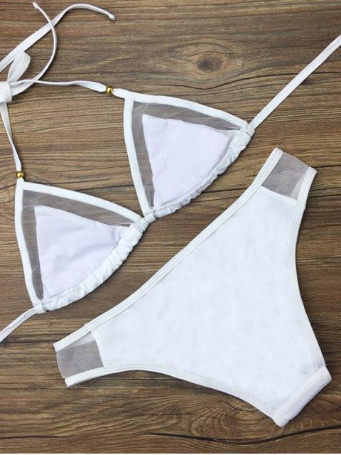 chic Voile Panel See-Through Bikini Set - WHITE S Mobile
