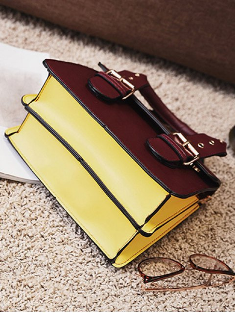 chic Color Block Eyelets Double Buckles Crossbody Bag - BURGUNDY  Mobile