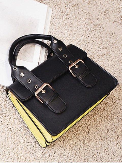 fancy Color Block Eyelets Double Buckles Crossbody Bag - BLACK  Mobile