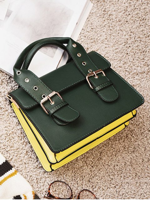 unique Color Block Eyelets Double Buckles Crossbody Bag - BLACKISH GREEN  Mobile
