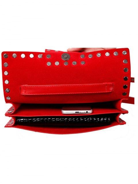 sale Buckle Strap Metal Rivet Crossbody Bag - RED  Mobile