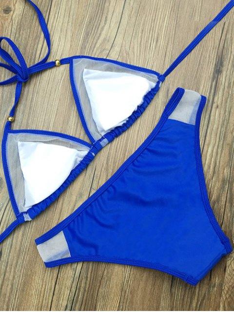 hot Color Block Voile Panel Halter Bikini Set - BLUE L Mobile