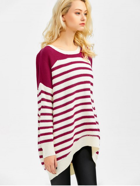 ladies Striped Oversized High Low Sweater - WINE RED 2XL Mobile