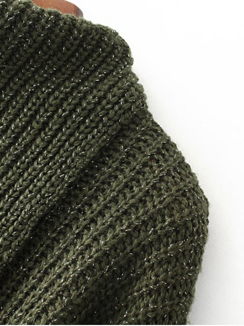 shop High-Low Chunky Sweater - GREEN ONE SIZE Mobile