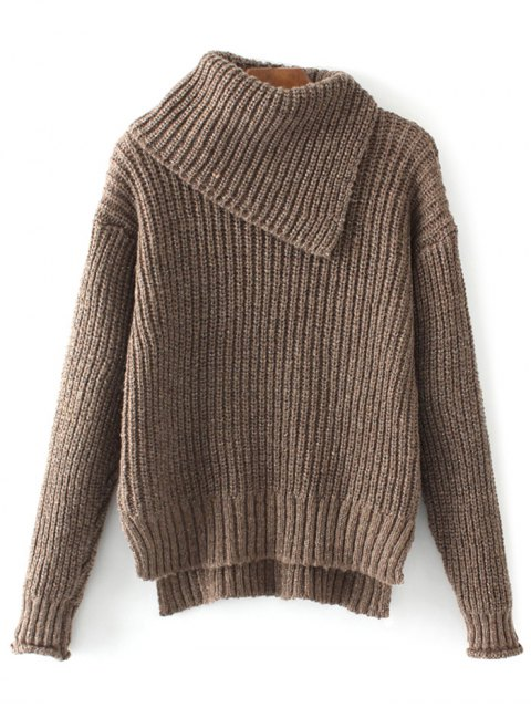 latest High-Low Chunky Sweater - COFFEE ONE SIZE Mobile