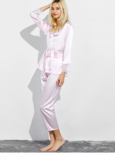 women Belted Lace Insert Nightwear Pajamas - LIGHT PINK XL Mobile