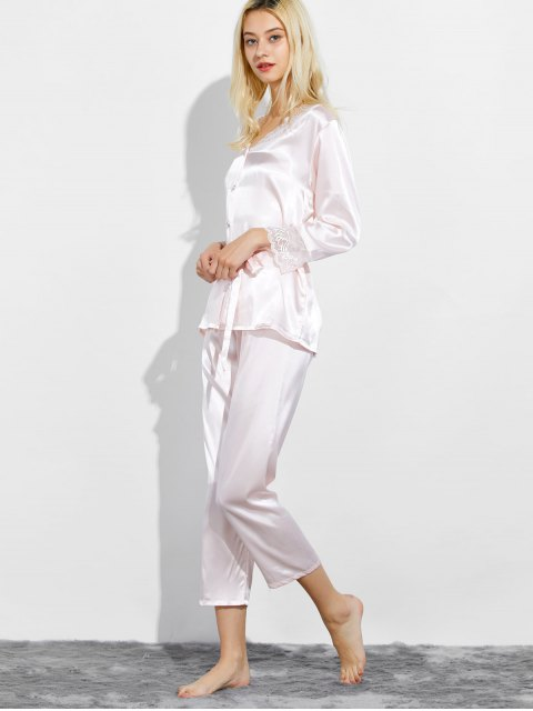 best Belted Lace Insert Nightwear Pajamas - SHALLOW PINK L Mobile