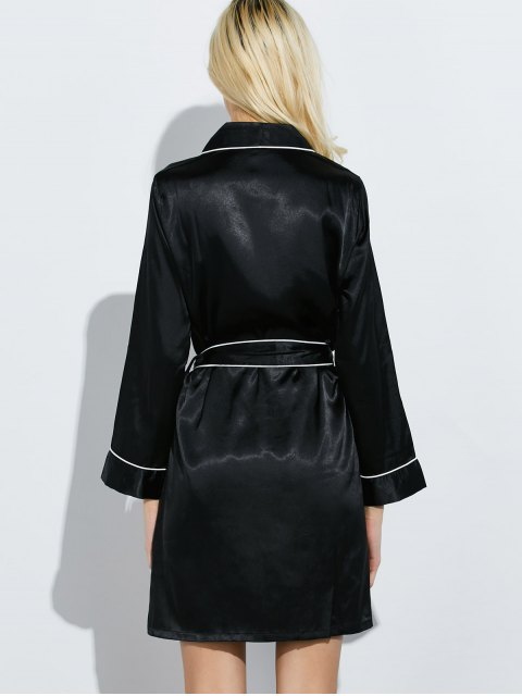 fashion Bowknot Wrap Sleep Robe - BLACK M Mobile