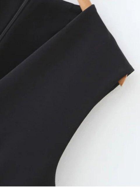 unique Floral Pattern V Neck Sheath Dress - BLACK M Mobile