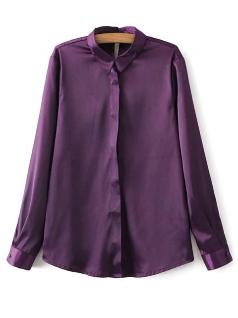 unique Satin Boyfriend Shirt - PURPLE S Mobile