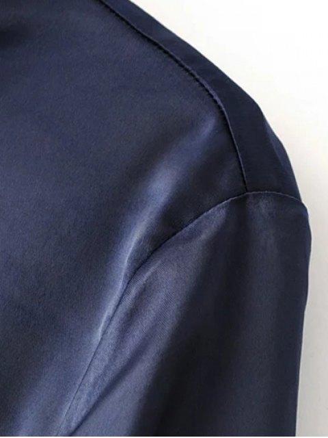 women Satin Boyfriend Shirt - CADETBLUE M Mobile